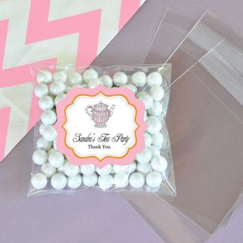 Personalized Tea Party Clear Candy Bags (Set of 24)