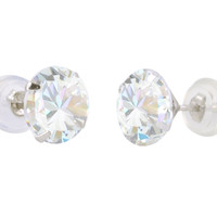 14k White Gold Round CZ Cubic Zirconia Stud Earrings with Safety Silicone Backs