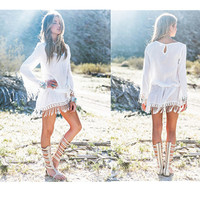 Hot Sale Sexy Long Sleeve Lace Tassels Hollow Out Beach One Piece Dress [4970284932]