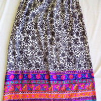 Alex Colman maxi skirt/ vintage Alex Colman California skirt/ bright flowers with black and white long gatherd skirt with velvet waistband
