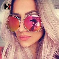 Fashion Oversize Oval Wire Women Sunglasses Brand Designer Big Alloy Frame Mirror Lens Sun Glasses UV400