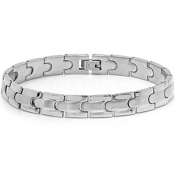 Oxford Ivy Mens Solid Stainless Steel Solid Link Mens Bracelet 8 3/4 inches