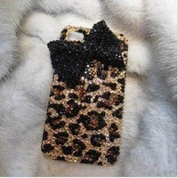 LEOPARD BOWKNOT HARD COVER CASE FOR IPHONE 4/4S/5
