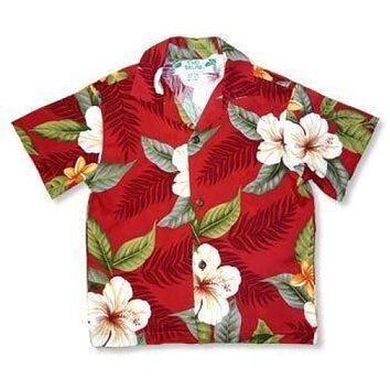 makaha red hawaiian boy shirt