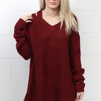 Shoulder Cut Outs Knit Sweater Tunic {Burgundy}