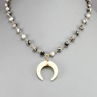 Crescent Horn & Bead Necklace