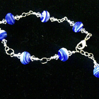 Blue and White Faceted Bracelet