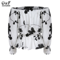 Off the Shoulder Floral Vintage Tops Summer Style Casual Woman New Arrivals Ladies White Black Long Sleeve Blouse