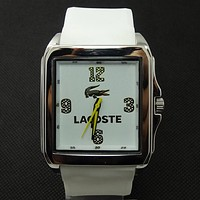 Lacoste tide brand fashion men and women stylish exquisite watches F-SBHY-WSL White + silver case + yellow number dial