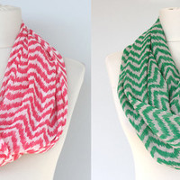 Chevron infinity scarf ikat scarf red zig zag scarf crepe loop scarf for women valentines day gift for mom