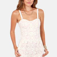 Maid in the Shade Blush Lace Romper