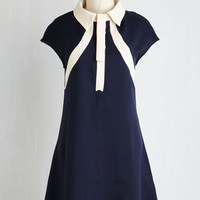 Mid-length Short Sleeves Shift Smile and Mod Dress