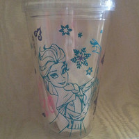 Frozen ELSA 16 Oz Acrylic Tumbler with Acrylic Straw With Name and Snowflakes