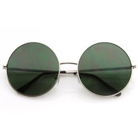 zeroUV - Super Large Oversized Metal Round Circle Sunglasses (Gold / Amber)