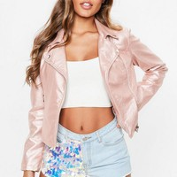 Missguided - Rose Gold Faux Leather Biker Jacket