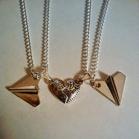 Friendship Necklace - Silver Paper Airplane ~  Best Frends /Harry Styles/ One Direction /