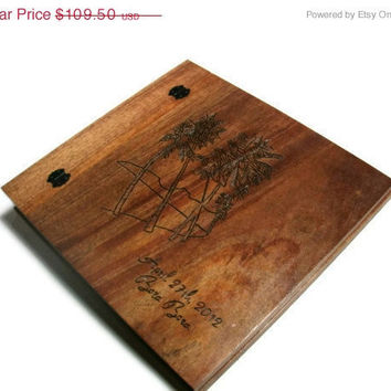 "CIJ SALE Wooden Wedding  Album - Scrapbook  12"" x 12"" Wedding Date and Location"