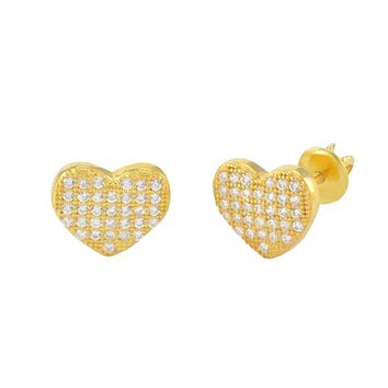 Heart Earrings Screwback Studs Sterling Silver Yellow Gold 8mm Micropave CZ