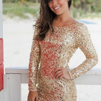 Gold Sequined Short Dress with Long Sleeves