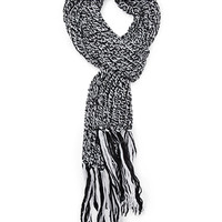 FOREVER 21 Braided Knit Scarf Black/White One