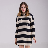 Cardigan Knit Stripes Printed Mixed Color Women Loose Hooded Hoodie Mini Skirt Dress One Piece Dress  Sweater Cardigan Coat Jacket Outerwear _ 10175