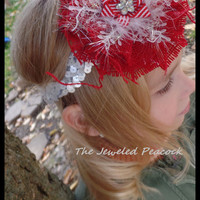 HEADBAND CHRISTMAS burlap flower, rustic country, sequin, girls, toddler, red silver snowflake ott