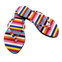 Fashion Flip Flops for Women, Kawaii Thong Sandals for Women, Multicolor Striped Flat Flops Shoes