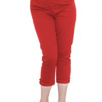 Red High Waist Pedal Pushers