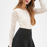 Stretch-Knit Lace Top