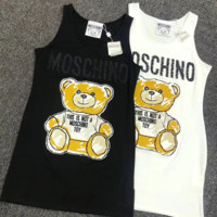 MOSCHINO Hot Sale Women Fashion Letter Sleeveless Vest Dress