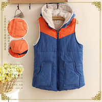 Block Patchwork Hooded Cotton Zipper Pocket Vest Coat