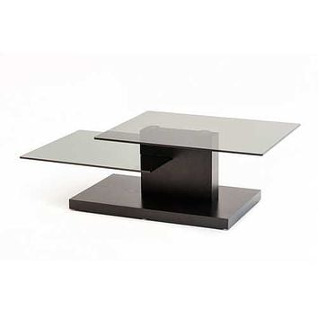 "15"" Black Oak MDF and Glass Coffee Table"