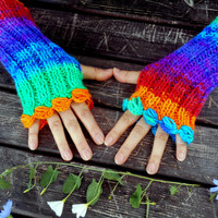 Rainbow Gloves, Knit Mittens, Hand Warmer, Winter Gloves, Gloves, Long Knitted Gloves, Women gloves, Arm Warmers, Color Gloves,Gift Ideas