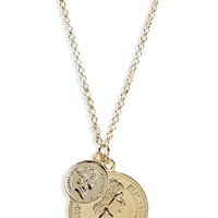 Shashi Double Coin Pendant Necklace | Nordstrom