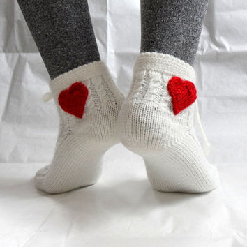 Of White  Slipper Socks Lacing Slippers for Women by fizzaccessory