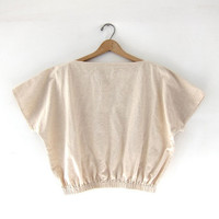vintage cropped shirt. capped sleeves. slouchy. minimalist. natural.