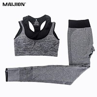 MAIJION 2Pcs Women Yoga Sets Fitness Sport Bra+Yoga Pants Leggings Set , Gym Running Sport Suit Set Workout Clothes for Female