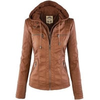 High Quality PU Removable Lapel Long-sleeved Solid Color Zipper Women's Leather Jacket _ 9293