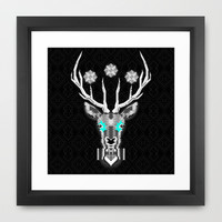 Silver Stag Geometric Framed Art Print by chobopop
