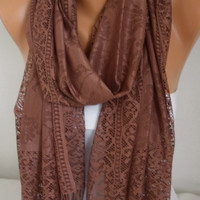 ON SALE - Brown Tulle Scarf - Chocolate Shawl Women Scarf - Cowl Scarf with Lace Edge - fatwoman Gift for Her Christmas