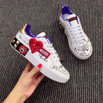 Dolce & Gabbana D&g Printed Calfskin Portofino Sneakers With Patch And Embroidery - Best Online Sale