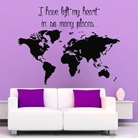 Wall Decals Vinyl Decal Sticker Children Kids Nursery Baby Room Interior Design Home Decor Travelling Quotes World Map Coutries I Have Left My Heart in so Many Places Kg698
