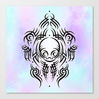 Alien Tribal Tattoo Canvas Print by Chobopop