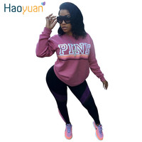HAOYUAN 2017 Women Hoodies VS Love Pink Letter Kawaii Sweatshirt Long Sleeve Pullovers Polerones Sudaderas Mujer Harajuku Tops