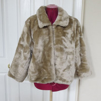 Vintage Creamy Tan Faux Fur Short Coat or Jacket