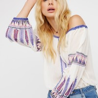 Free People Dream On Embroidered Top