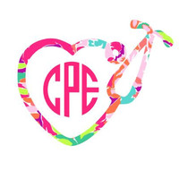 Lilly Pulitzer Inspired Stethoscope Monogram Decal- Circle Font - Laptop Decal - Water Bottle Decal - Car Decal -Nurse- CNA - Window Decal