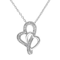 Diamond Accent Sterling Silver Heart Pendant Necklace (White)