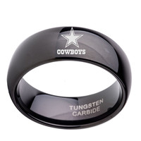 NFL Dallas Cowboys Football Band 8mm Black / Silver Dome Tunsgten Sport Ring Comfort Fit Size 6 to 14
