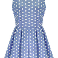 Light Blue Polka Dot Sleeveless Pleated Mini Dress
